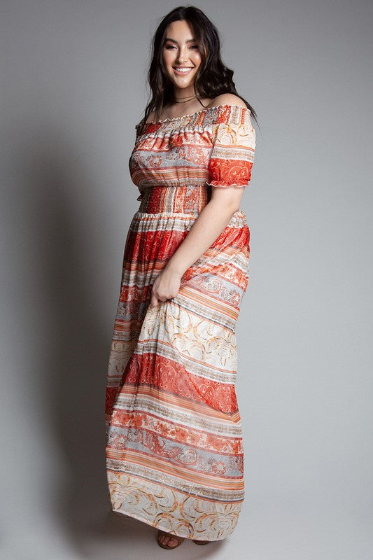 Rust Boho Border Print Maxi Dress