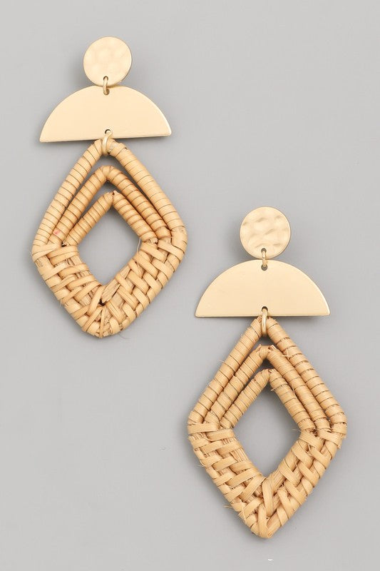 Layered Straw Rhombus Earrings
