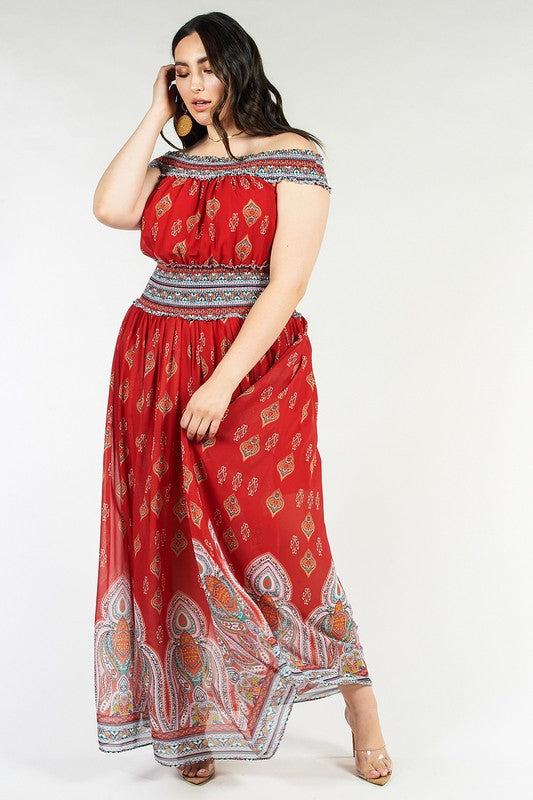 Scarlet Paisley Border Print Maxi Dress