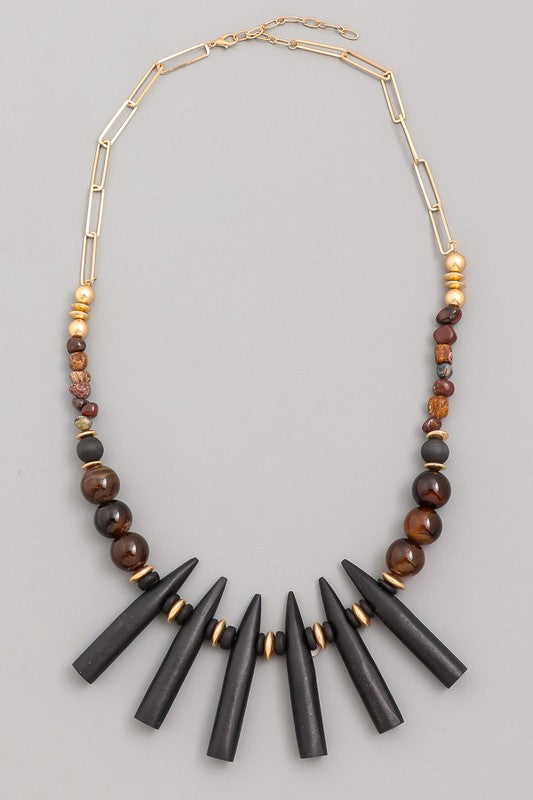 Beaded Bar Fringe Statement Necklace
