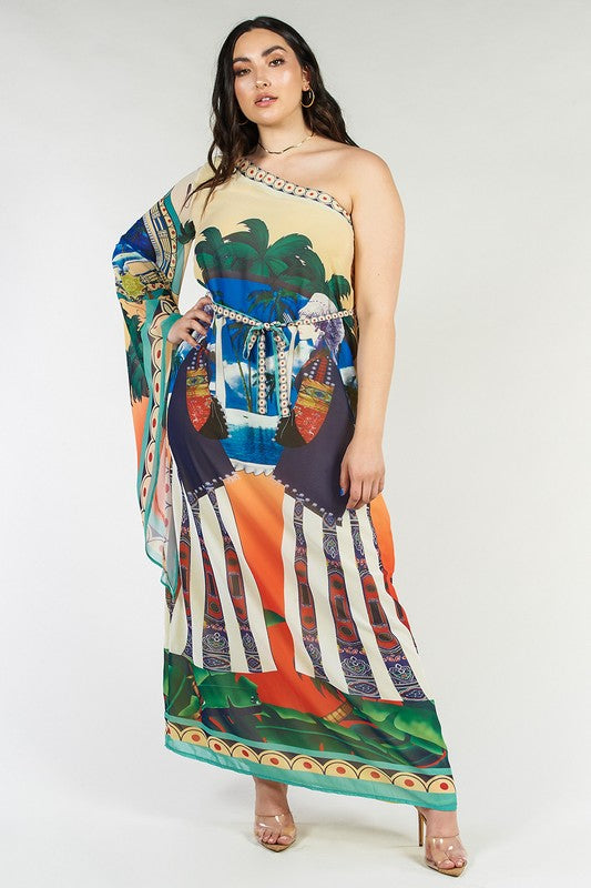 One Shoulder Printed Scarf Dress