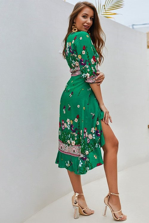 Green Flower Print Midi Wrap Dress