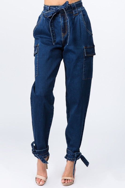 Paper-Bag waist Jeans with Ankle Tie