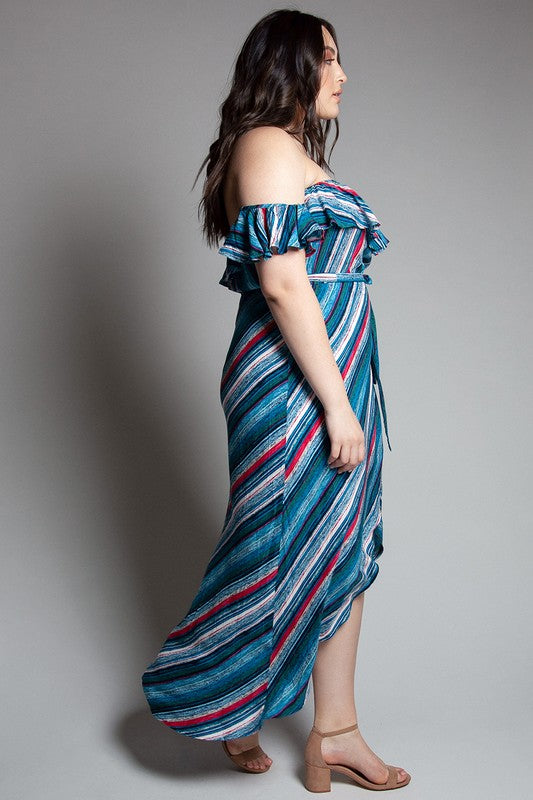 Cool Blue Stripe Off the Shoulder Wrap Dress