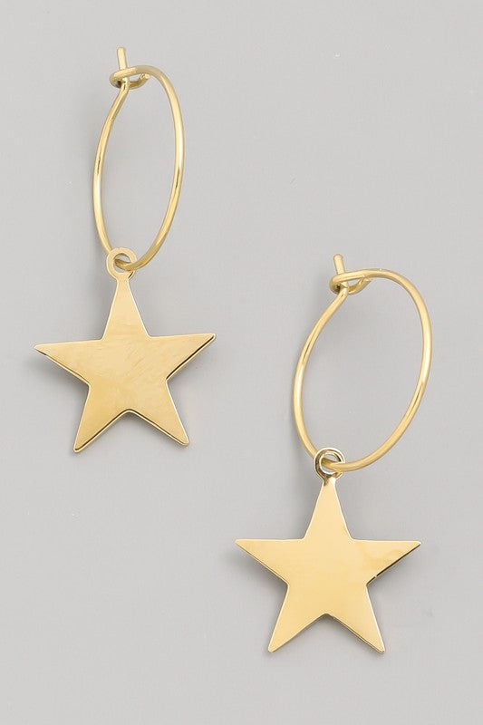 Mini Hoop Star Drop Earrings