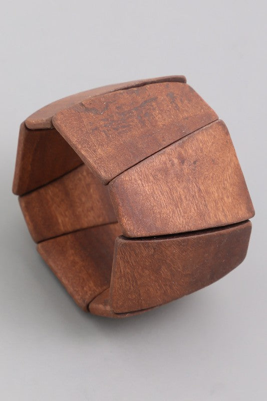 Chunky Wood Stretch Bracelet