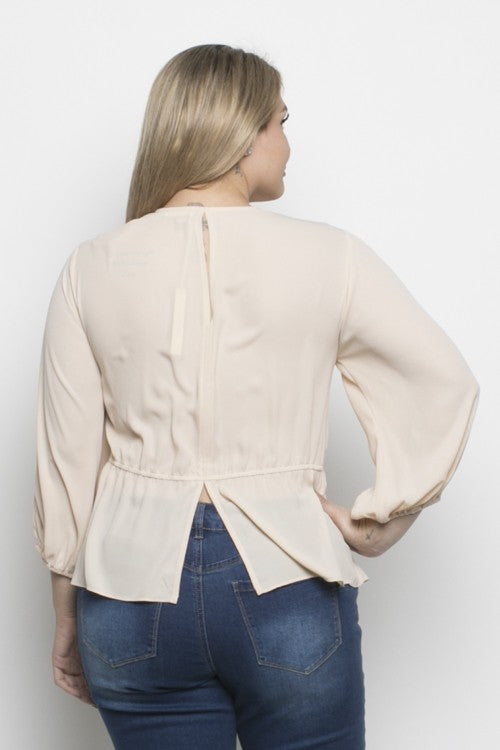 Cream Front Tie Peplum Top