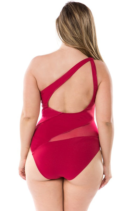 One Shoulder Mesh Striped One Piece