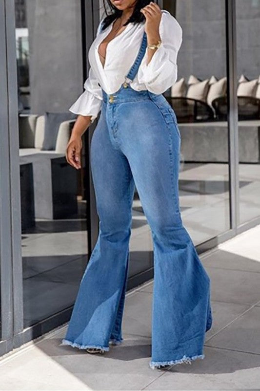 Bell Bottom Jeans With Shoulder Straps