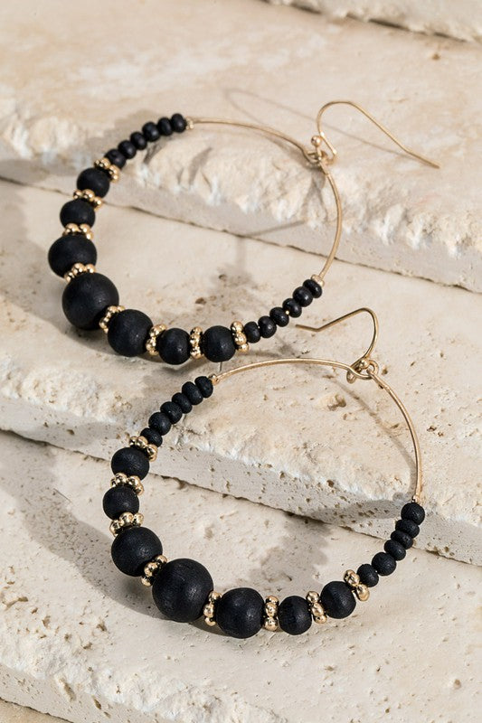 Black Wood Bead Hoop Earrings