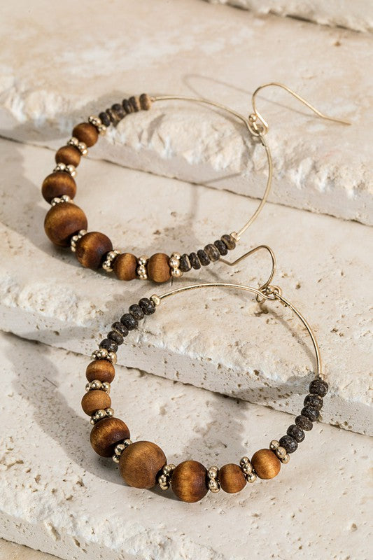 Brown Wood Bead Hoop Earrings