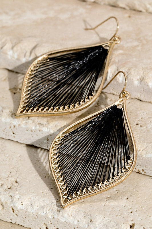 Fine Threaded Marquise Earrings