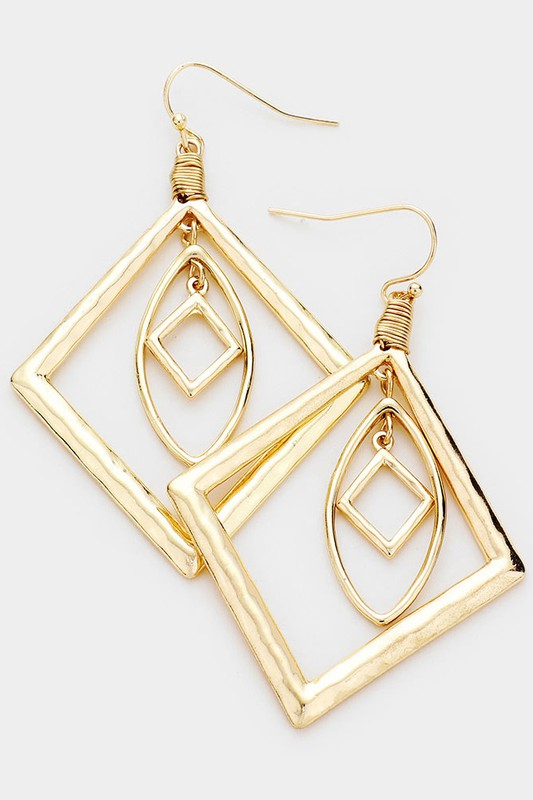 Hammered Metal Geometric Rhombus Earrings