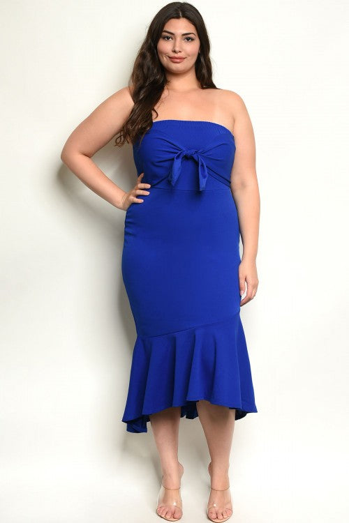 Royal Blue Strapless Tie Front Dress