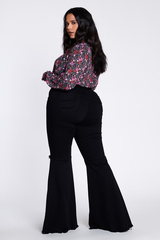 Black Distressed Flare Jeans Curvy