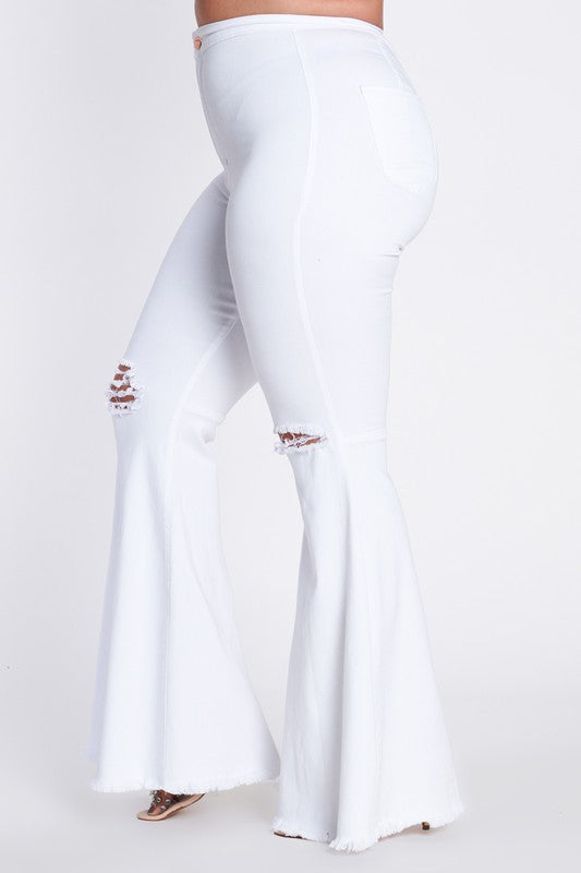 White Distressed Flare Jeans Curvy