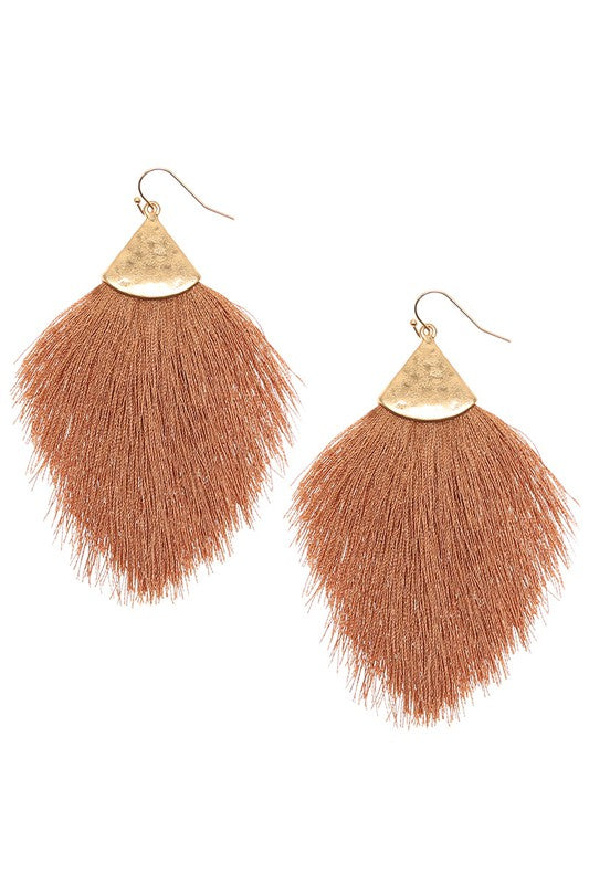 Brown Fringe Tassel Drop Dangle Hook Earrings