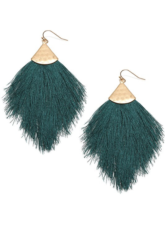 Teal Fringe Tassel Drop Dangle Hook Earrings