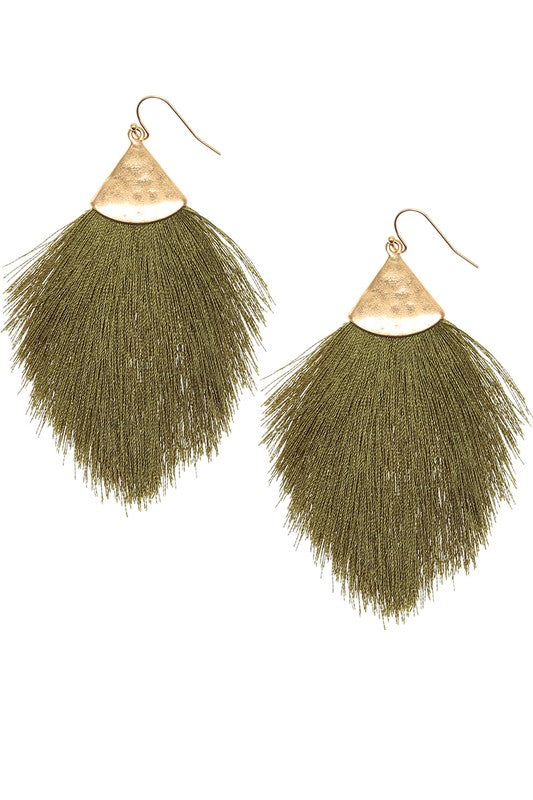 Olive Fringe Tassel Drop Dangle Hook Earrings