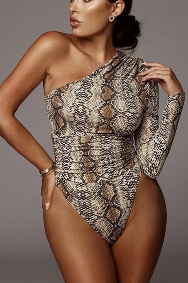 Snake Print One-shoulder Bodysuit