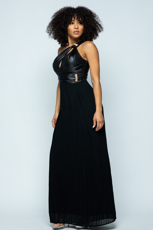 Black One Shoulder Faux Leather Maxi Dress