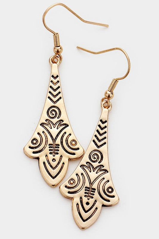 Sign Pattern Metal Earrings