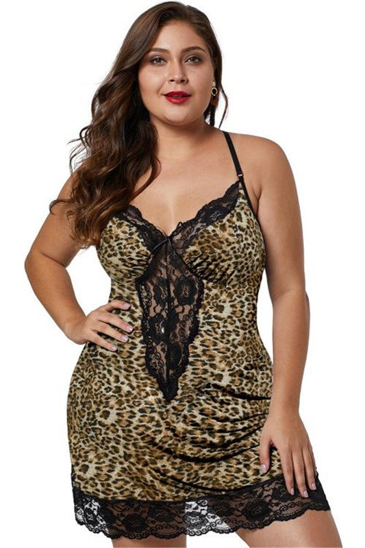 Leopard Venecia Chemise with Lace Trim