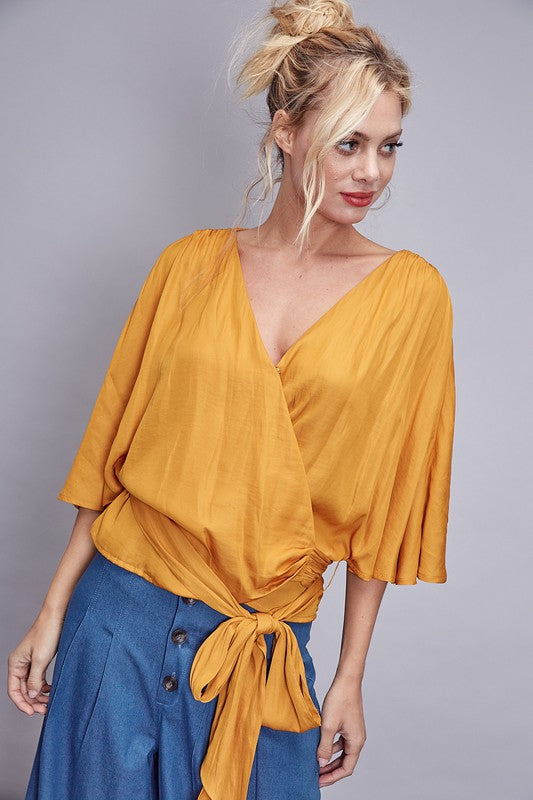 Deep Honey Wrap Tie Front Top