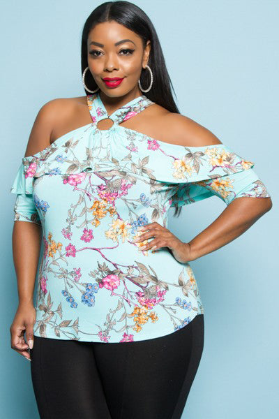 Blue Print Cold Shoulder Top