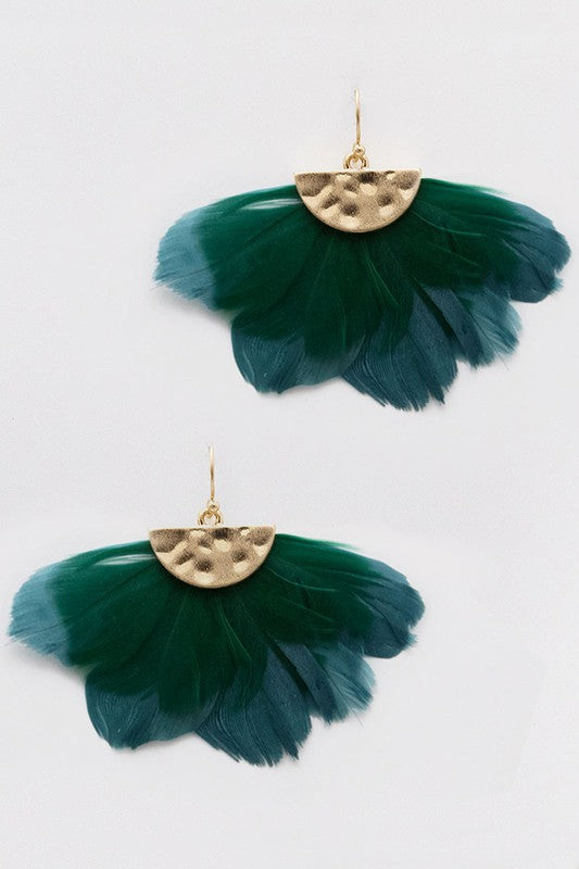 Teal Feather Dangle Hook Earrings
