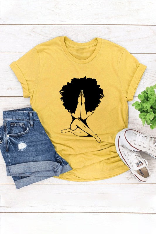 Yellow Woman Praying Graphic Tee