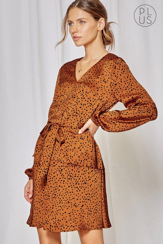 Rust Satin Dalmation Print Dress