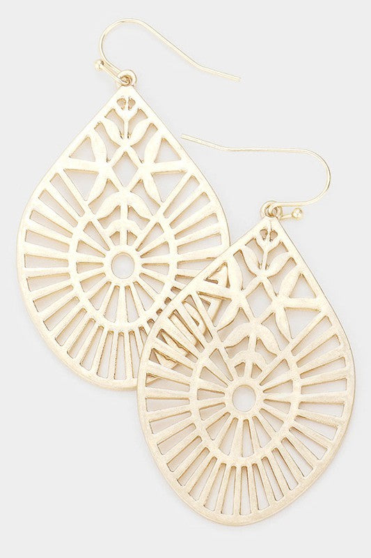 Filigree Metal Teardrop Earrings
