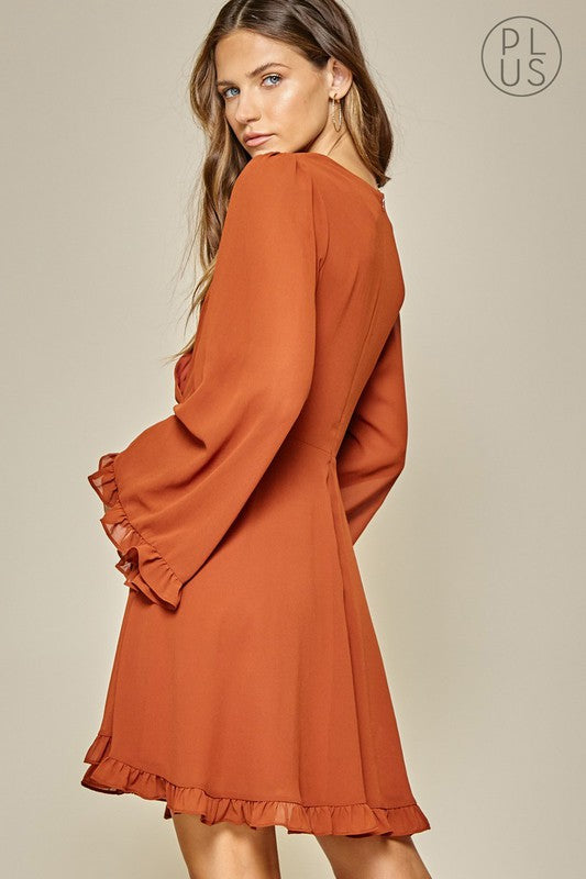 Ellie Rust Surplice Fit and Flare Dress