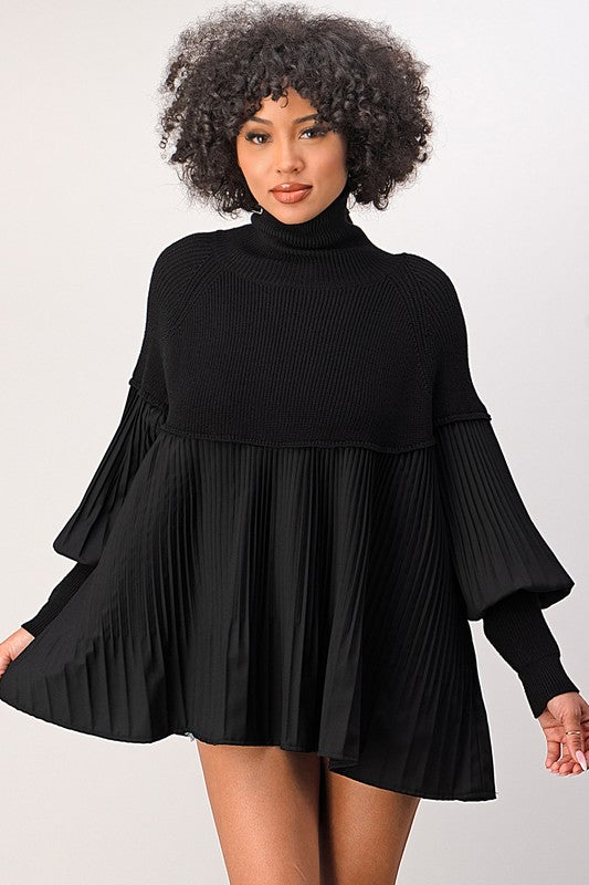 Black Turtleneck A-Line Pleated Top