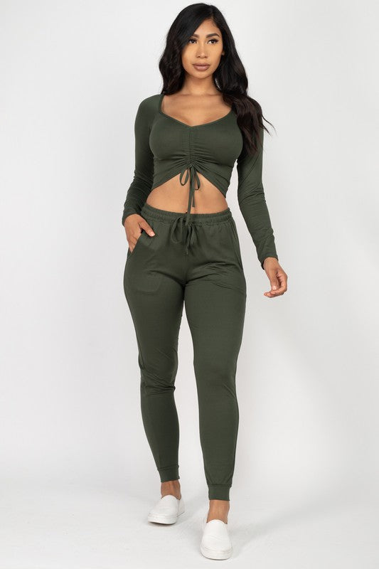 Olive Ruched Crop Top and Jogger Set