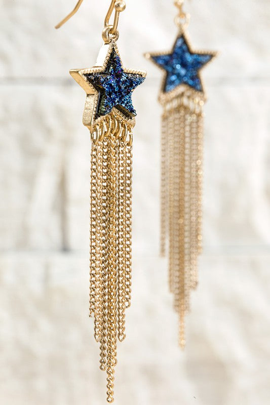 Faux Drusy Star Shape Earrings