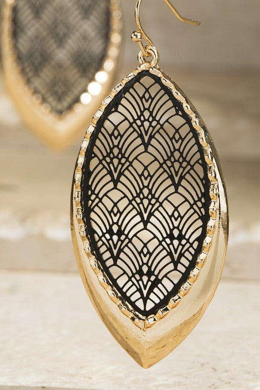Black and Gold Two Tone Satin Filigree Earrings