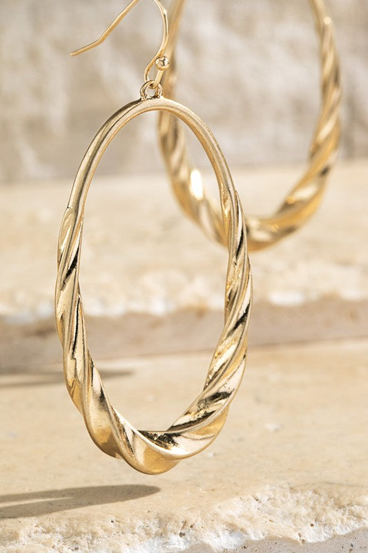 Gold Twisted Satin Metal Earrings