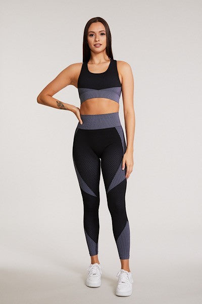 Black Blue 3 piece Activewear Set