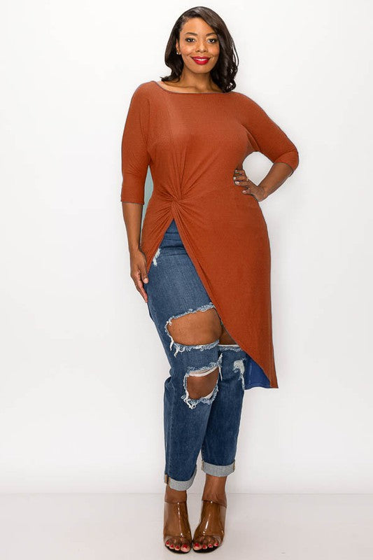 Rust Dramatic Side-Slit Maxi Tunic Top