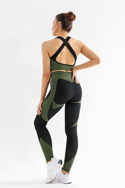 Black Green 3 piece Activewear Set