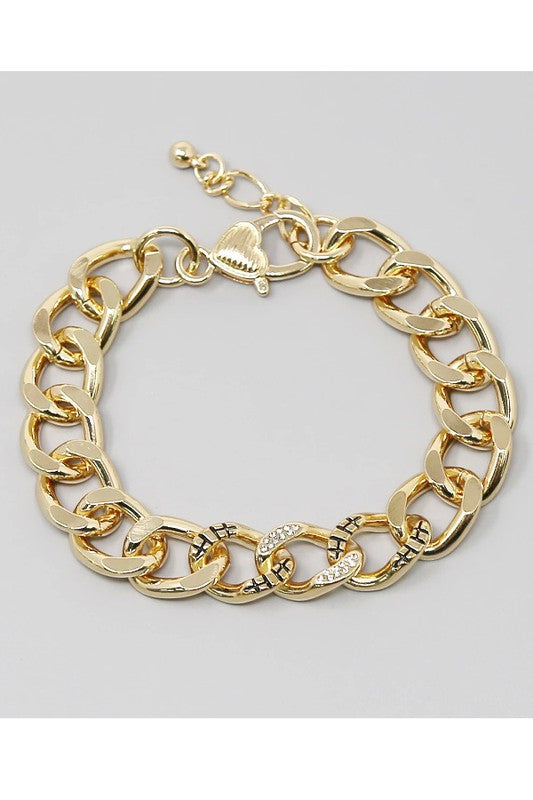 Rhinestone Pave Textured Metal Linked Bracelet
