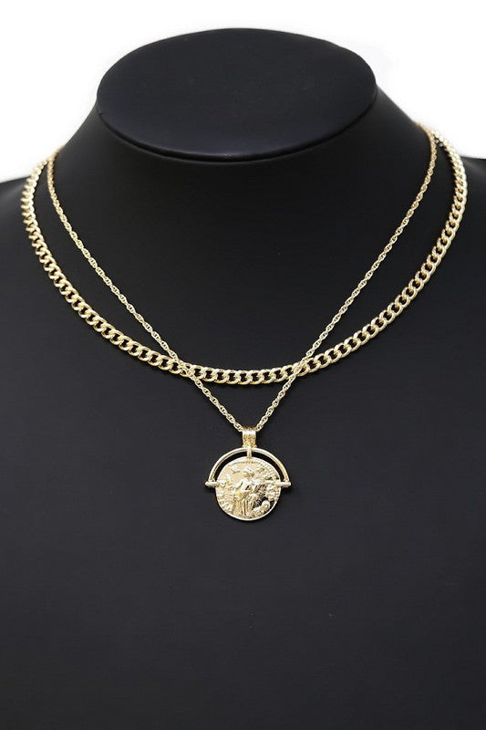 Coin Pendant Layered Chain Necklace Set