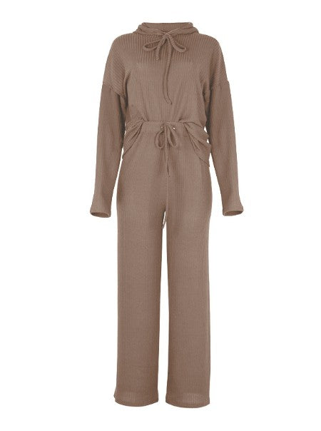 Coffee Two-Piece Hoodie Pant Set