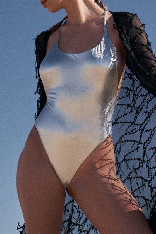 Silver Metallic One Piece Swimsuit