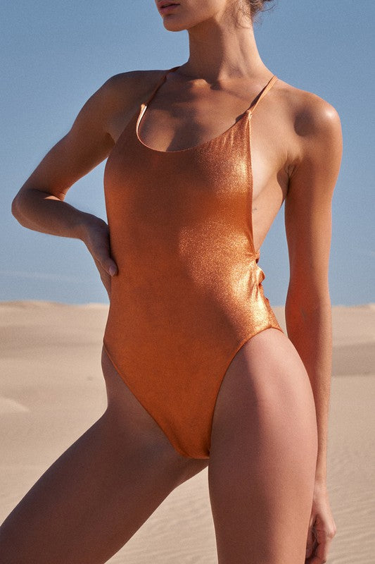 Orange Metallic One Piece Swimsuit