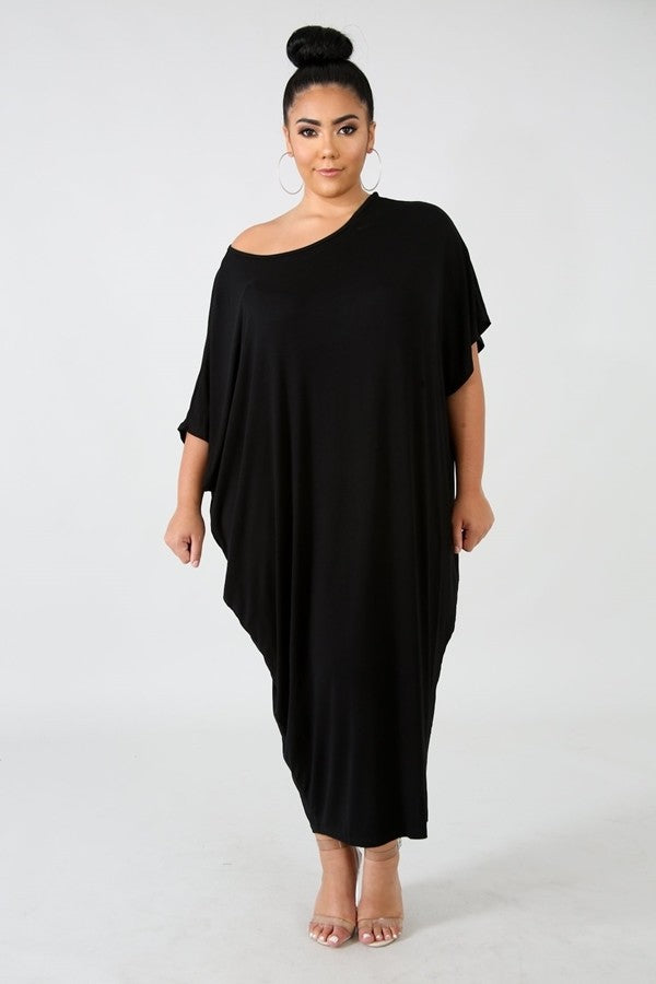Black Scoop Neck Lounge Dress