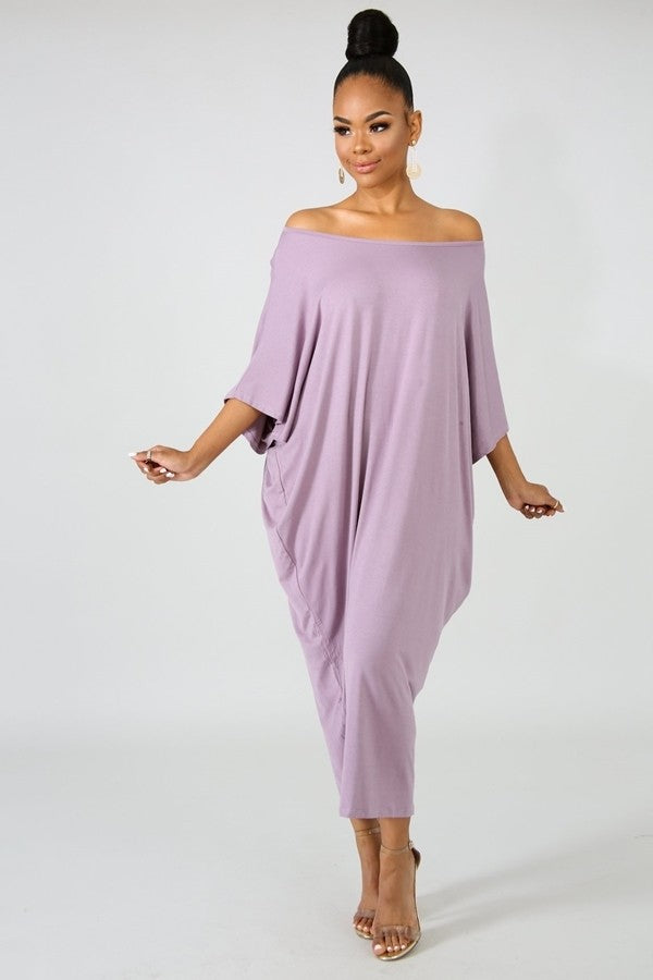 Violet Scoop Neck Lounge Dress