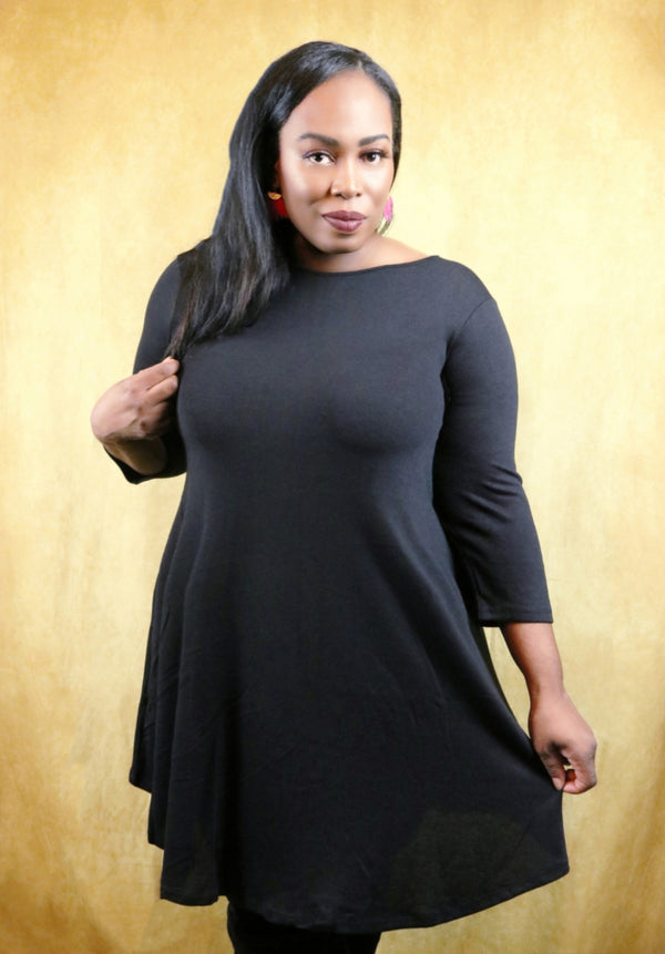 Naomi Black 3/4 Sleeve A-Line Dress